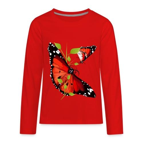 TWO BRIGHT ORANGE BUTTERFLIES - Kids' Premium Long Sleeve T-Shirt