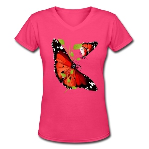 TWO BRIGHT ORANGE BUTTERFLIES - Women's V-Neck T-Shirt