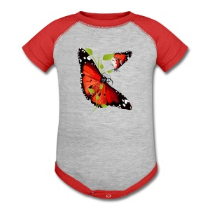 TWO BRIGHT ORANGE BUTTERFLIES - Baby Contrast One Piece
