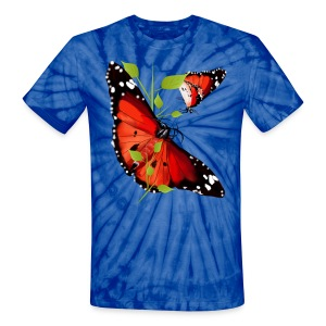 TWO BRIGHT ORANGE BUTTERFLIES - Unisex Tie Dye T-Shirt