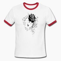 BEAUTIFUL FACE LINE ART (black ink) T-Shirts