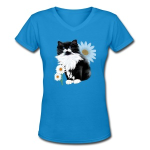 Kitten and Daisy - Women's V-Neck T-Shirt