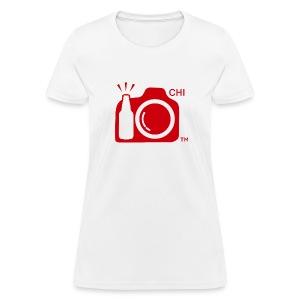 Women Standard Weight T-Shirt Red Large Logo Chicago - Women's T-Shirt