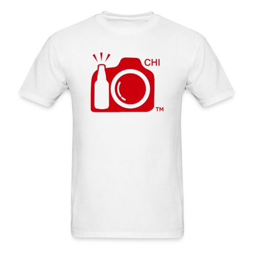 Men's Standard Weight T-Shirt Red Large Logo Chicago - Men's T-Shirt
