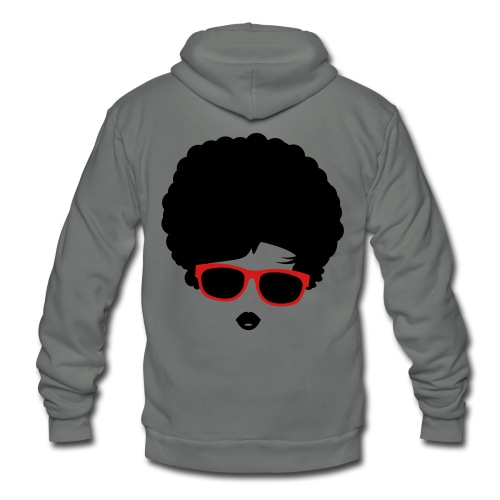 A girl with afro hairstyle and sunglasses - Unisex Fleece Zip Hoodie by American Apparel