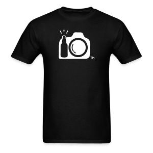 Men's Standard Weight Black T-Shirt White Large Logo NO INITIALS - Men's T-Shirt
