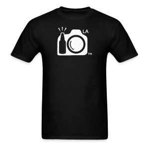 Men's Standard Weight Black T-Shirt White Large Los Angeles Logo - Men's T-Shirt