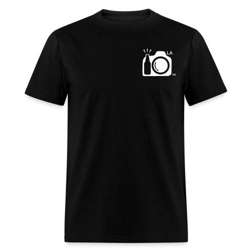 Men's Standard Weight Black T-Shirt White Large Los Angeles Logo - Men's T-Shirt
