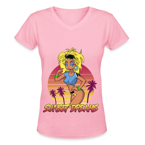 Sunset Dreams Pinup Blue - Women's V-Neck T-Shirt