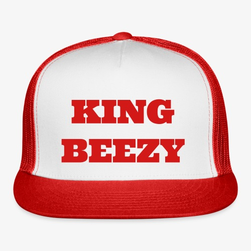 KING BEEZY Trucker Cap (Red and White/Red Text) - Trucker Cap