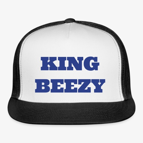KING BEEZY Trucker Cap (Royal Blue & White/Royal Blue Text) - Trucker Cap