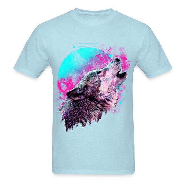 Colorful Wolf Howling T-shirt
