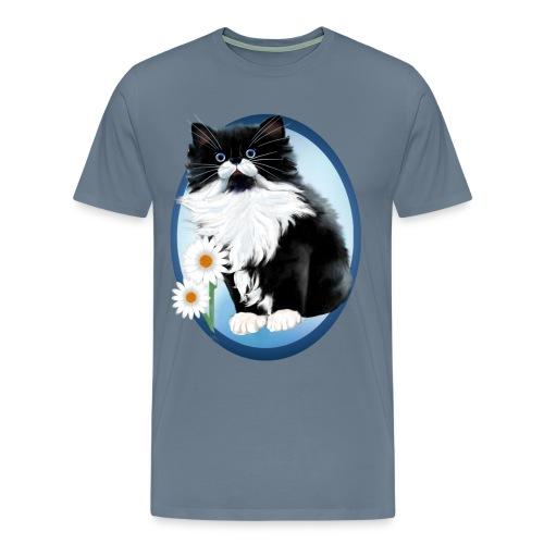Kitten and Daisy Oval - Men's Premium T-Shirt