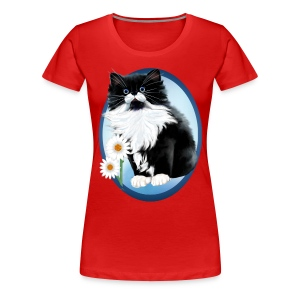 Kitten and Daisy Oval - Women's Premium T-Shirt