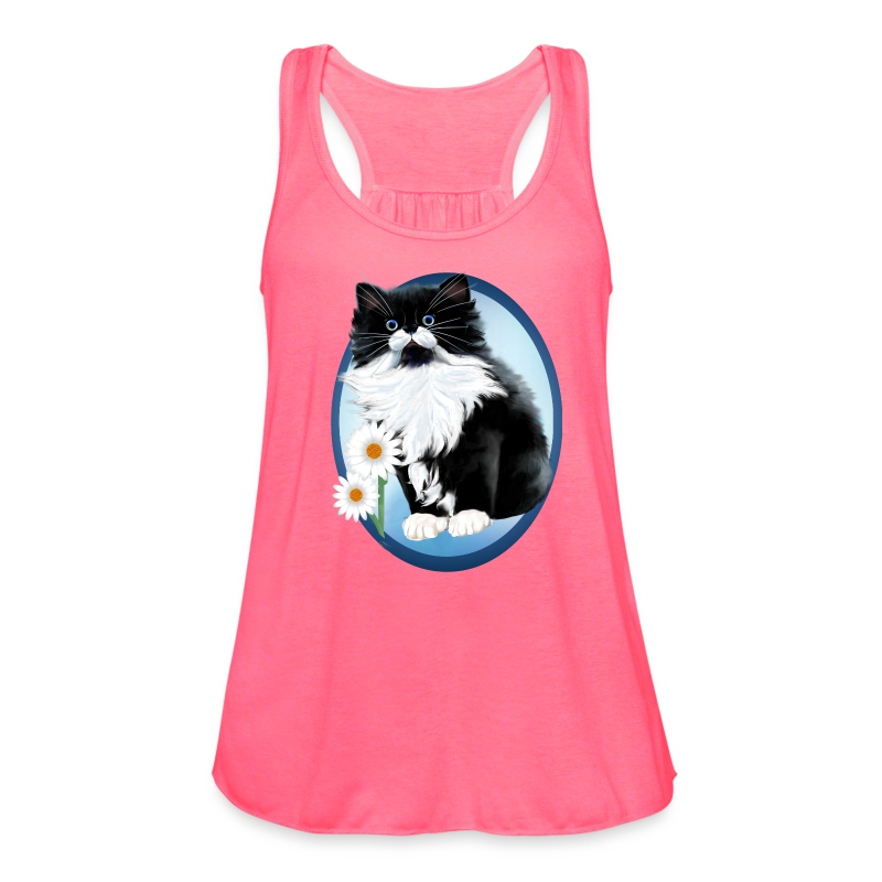 Kitten and Daisy Oval - Women's Flowy Tank Top by Bella