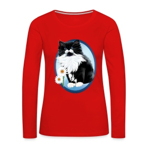 Kitten and Daisy Oval - Women's Premium Long Sleeve T-Shirt
