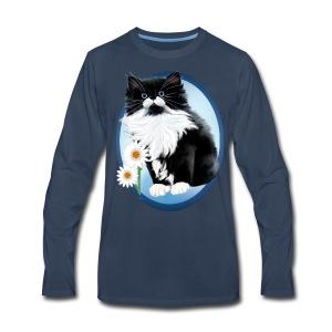 Kitten and Daisy Oval - Men's Premium Long Sleeve T-Shirt