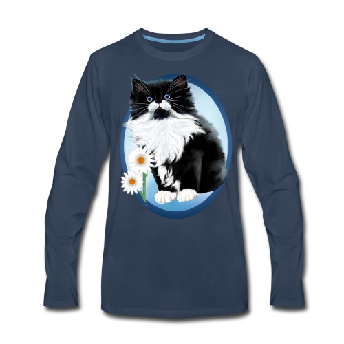 Kitten and Daisy Oval - Men's Premium Long Sleeve T-Shirt