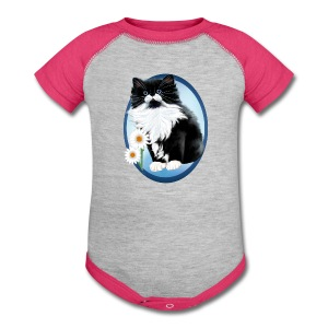 Kitten and Daisy Oval - Baby Contrast One Piece