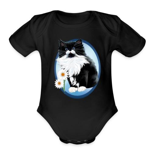 Kitten and Daisy Oval - Organic Short Sleeve Baby Bodysuit