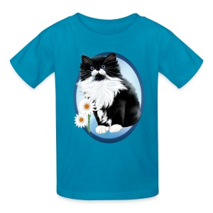 Kitten and Daisy Oval - Kids' T-Shirt