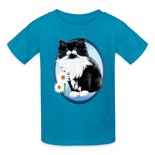 Kitten and Daisy Oval - Kids' T-Shirt