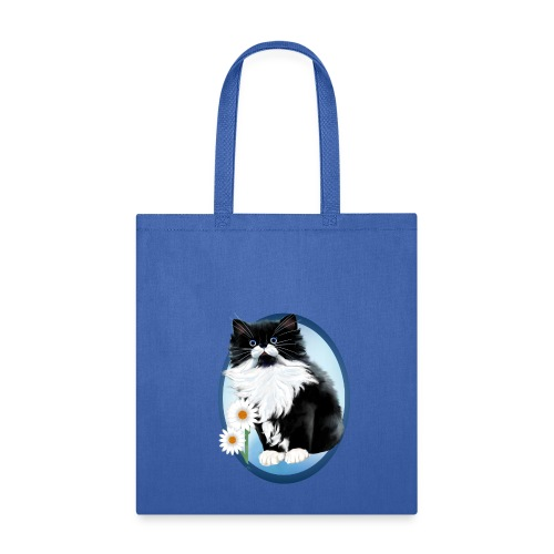 Kitten and Daisy Oval - Tote Bag
