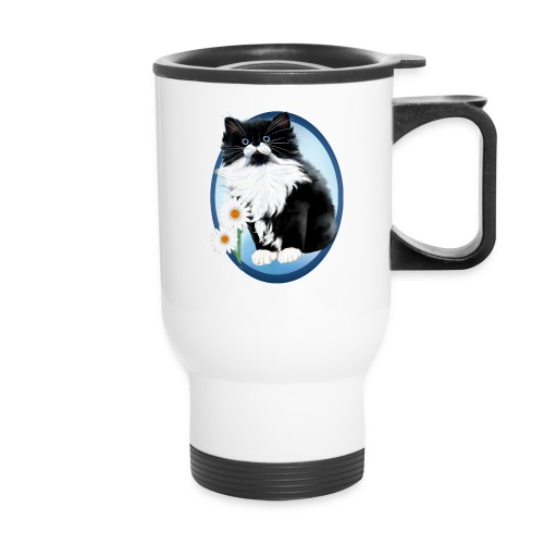 Kitten and Daisy Oval - Travel Mug