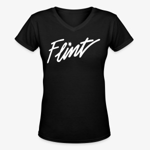 Flint Retro - Women's V-Neck T-Shirt