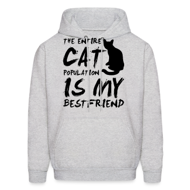 cat population is my bestfriend - black Hoodies