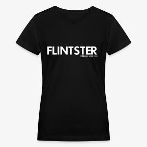 Flintster Hardcore - Women's V-Neck T-Shirt