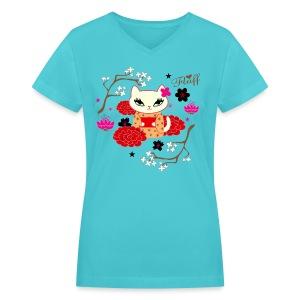 Kimono Cat  - Women's V-Neck T-Shirt