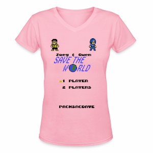 Joey & Owen Save the World Title Screen (Women) - Women's V-Neck T-Shirt
