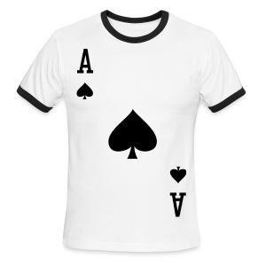 Ace of Spades - Ringer T - Men's  White - Men's Ringer T-Shirt