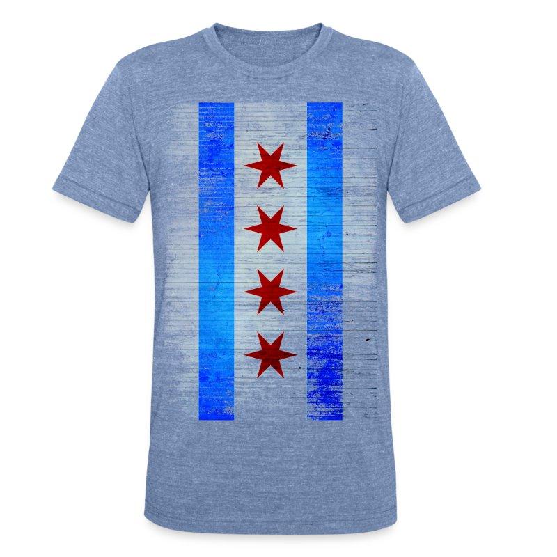 Chicago Flag Faded - Unisex Tri-Blend T-Shirt