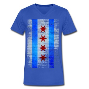 Chicago Flag Faded - Men's V-Neck T-Shirt by Canvas