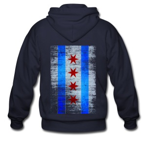 Chicago Flag Faded - Men's Zip Hoodie