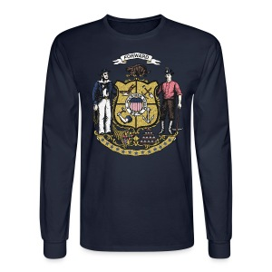Wisconsin Flag Seal - Men's Long Sleeve T-Shirt