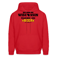 Hoodies ~ Men's Hoodie ~ Born in Wisconsin  Raised on Beer