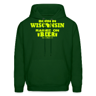 Hoodies ~ Men's Hoodie ~ Born in Wisconsin - Neon Yellow