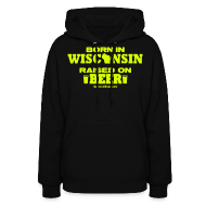 Hoodies ~ Women's Hoodie ~ Born in Wisconsin - Neon Yellow