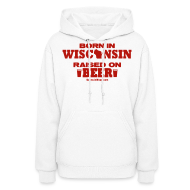Hoodies ~ Women's Hoodie ~ Born in Wisconsin - Red Shimmer