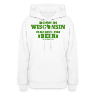 Hoodies ~ Women's Hoodie ~ Born in Wisconsin - Green Shimmer