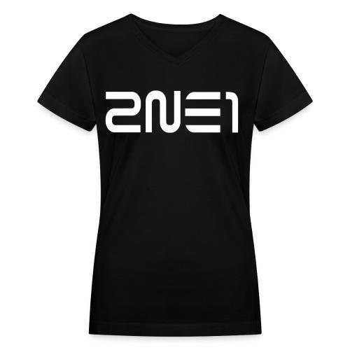 2NE1 Logo in White Women's V-Neck - Women's V-Neck T-Shirt