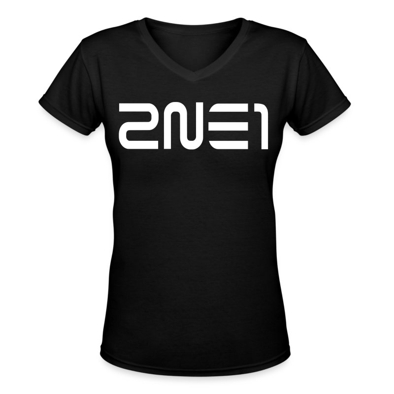 2NE1 Logo in White Women's V-Neck - Women's V-Neck T-Shirt