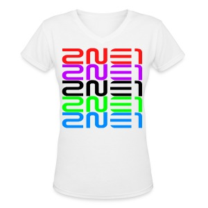 2NE1 Multicolor Logo Women's V-Neck - Women's V-Neck T-Shirt