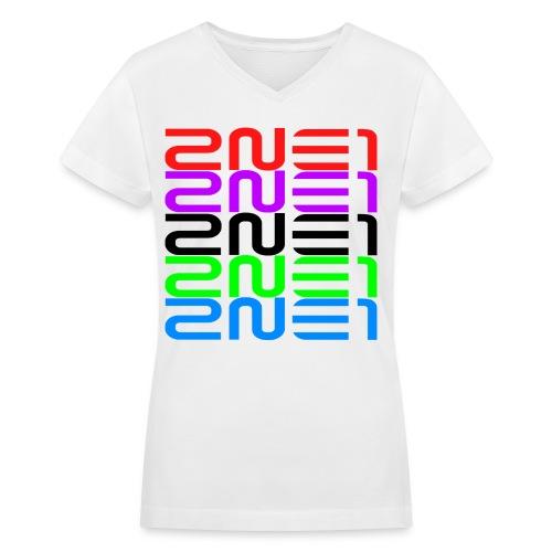 2NE1 Multicolor Logo Women's V-Neck - Women's V-Neck T-Shirt