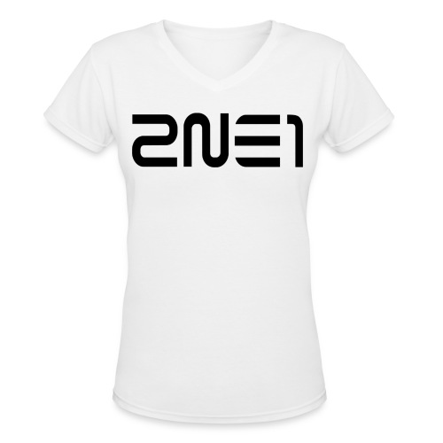 2NE1 Logo in Black Women's V-Neck - Women's V-Neck T-Shirt