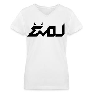 Evol Logo in Black Women's V-Neck - Women's V-Neck T-Shirt