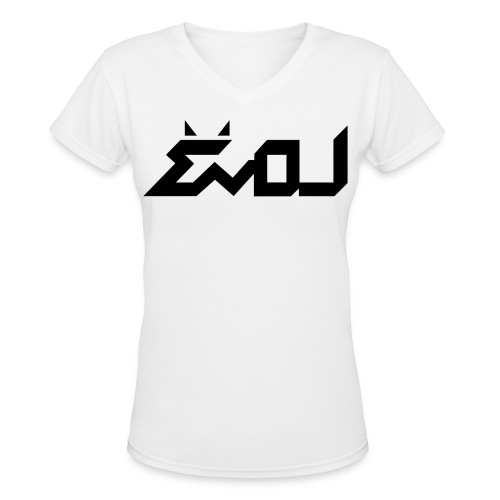 Evol Logo in Black Women's V-Neck - Women's V-Neck T-Shirt